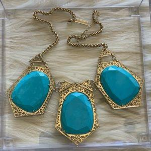 Vintage Kendra Scott 3-Stone Turquoise Necklace